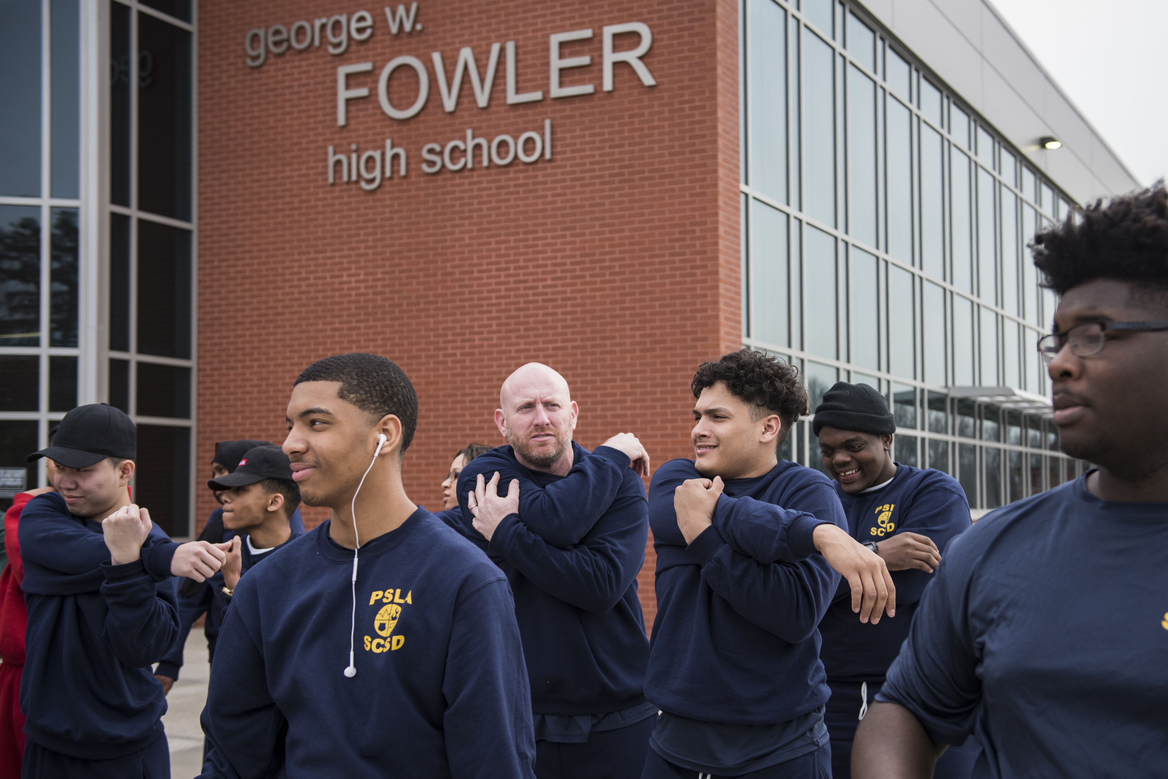 PSLA Fowler law enforcement students begin to warmup for PT outside.